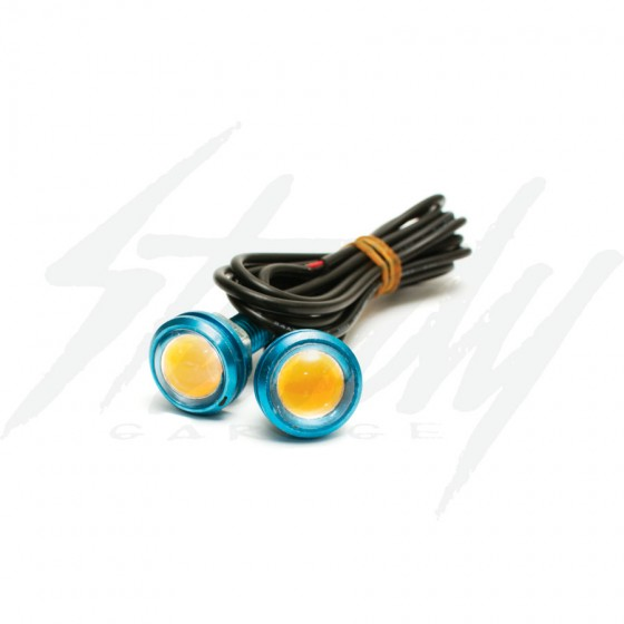 12v LED Amber Signal Lights Blue Housing