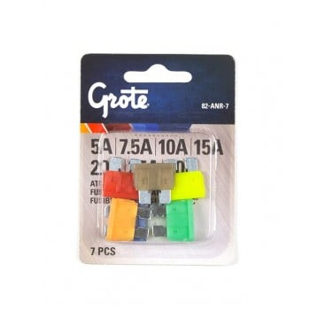GROTE ATO/ATC Blade Type Fuse Assortment, 7 Pack