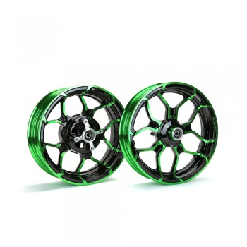 Kuni Phat Star Kawasaki Z125 Rim Wheel Set - Black/Green