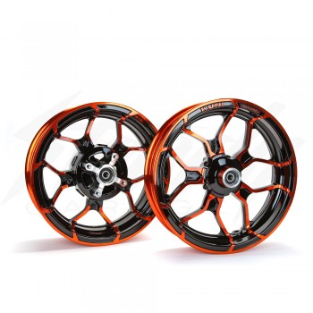 Kuni Phat Star Kawasaki Z125 Rim Wheel Set - Black/Orange