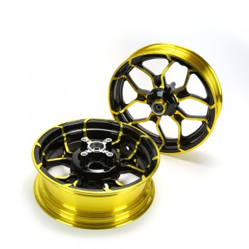 Kuni Phat Star Kawasaki Z125 Rim Wheel Set - Black/Gold