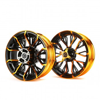 KCR Circuit Honda Grom 125 Rim Wheel Set - Black/Orange